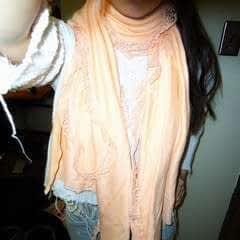 Peach Scarf With Lace Trim And Lace