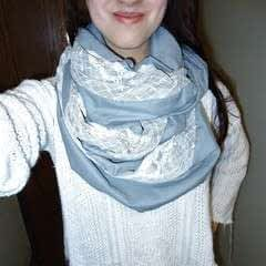 Grey Infinity Scarf With Lace Made From Bedsheet