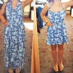 Floral Denim 1990s Dress To Modern Dress