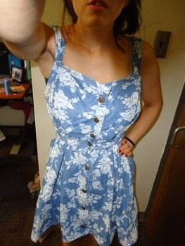 Refashioning an old school dress into a cool one. .  Sew a denim dress in under 180 minutes using dress, sewing machine, and iron. Creation posted by Rachel's Craft Channel.  in the Sewing section Difficulty: Simple. Cost: No cost.