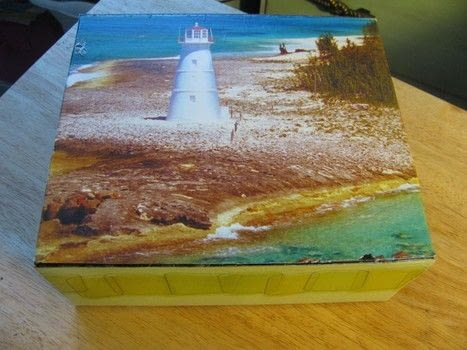 Recycle boxes .  Make a piece of recycled art in under 120 minutes by creating, decorating, embellishing, and decoupaging with decoupage glue and boxes. Creation posted by Pearle D.  in the Papercraft section Difficulty: Easy. Cost: Cheap.