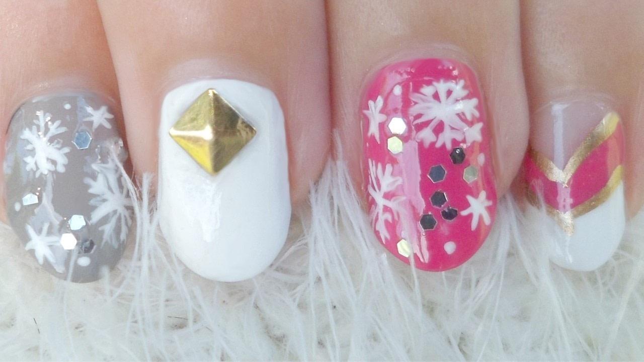 Crystal Snowflake Nail Art Girly How To Paint Seasonal Nail Art