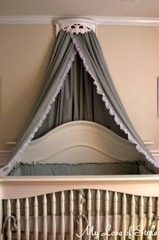 Turn a Set of Sheets into a Beautiful Bed Crown and Canopy .  Free tutorial with pictures on how to make a bed canopy in 10 steps using shelf, trim, and push pins. Inspired by bedroom. How To posted by Jessica {My Love of Style}.  in the Home + DIY section Difficulty: 3/5. Cost: 3/5.