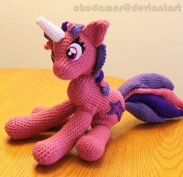 Princess in Pink .  Make a unicorn plushie by yarncrafting, amigurumi, not sewing, and hand sewing with acrylic yarn, crochet hook, and polyfill. Inspired by my little pony and unicorns. Creation posted by Chudames.  in the Yarncraft section Difficulty: 3/5. Cost: 3/5.