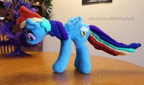 A Dash of Fun! .  Sew a cartoon plushie by yarncrafting, crocheting, amigurumi, and hand sewing with acrylic yarn, polyfill, and felt. Inspired by my little pony. Creation posted by Chudames.  in the Yarncraft section Difficulty: 3/5. Cost: 3/5.
