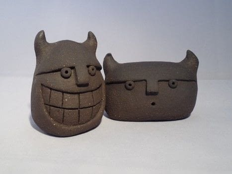 Cheeky devil .  Make an ornament by potting with clay, tools, and kiln. Inspired by devils. Creation posted by sian d.  in the Other section Difficulty: 3/5. Cost: 3/5.