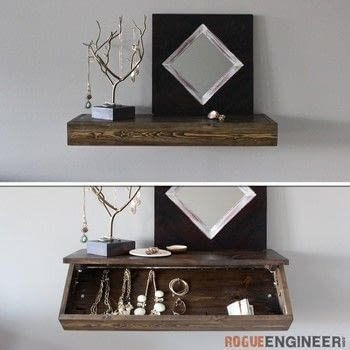 Build a Floating Shelf with Hidden Storage .  Free tutorial with pictures on how to make a wall shelf in 4 steps by woodworking with wood, wood, and wood glue. How To posted by Rogue Engineer.  in the Home + DIY section Difficulty: 4/5. Cost: Cheap.