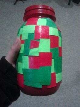 Filled with yummy goodness! .  Decorate a bottle / jar in under 20 minutes using mason jar, glue, and paint. Creation posted by Ashley P.  in the Decorating section Difficulty: Simple. Cost: Absolutley free.