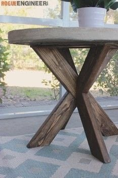 Build an X-Brace Side Table with Concrete Top .  Free tutorial with pictures on how to make a side table in 9 steps by woodworking with wood, wood, and quikrete. How To posted by Rogue Engineer.  in the Home + DIY section Difficulty: 4/5. Cost: Cheap.