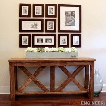 Build an X-Brace Console Table for $40! .  Free tutorial with pictures on how to make a side table in 6 steps by woodworking with wood, wood, and screws. How To posted by Rogue Engineer.  in the Home + DIY section Difficulty: 3/5. Cost: Cheap.