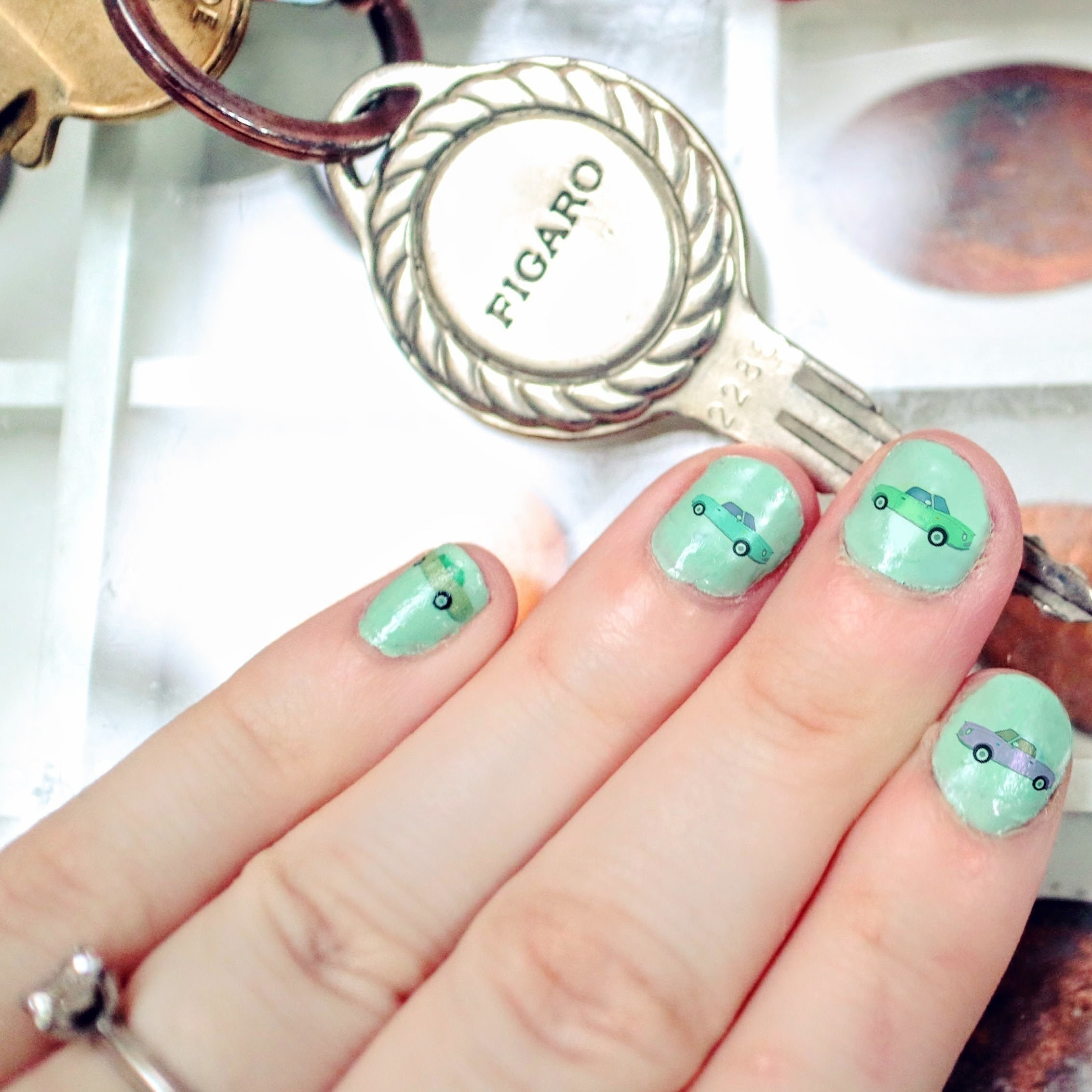 Figaro Nail Decals · How To Paint An Embellished Nail Manicure ...