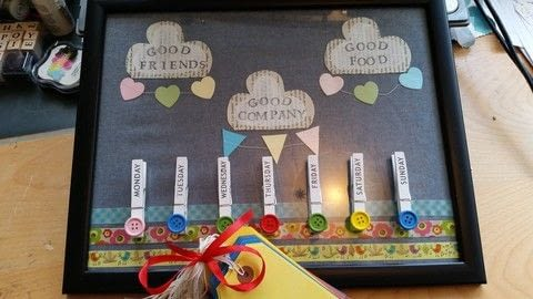 Tight budget get the kids to help plan the meals .  Free tutorial with pictures on how to make a kitchen project / dining project in under 30 minutes by cooking and collage with frame, fabric scraps, and scrapbook paper. How To posted by LoupLou.  in the Home + DIY section Difficulty: Simple. Cost: 3/5. Steps: 6