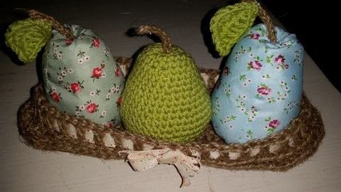 Cath Kidson inspired make .  Make an ornament in under 120 minutes by crocheting, hand sewing, and machine sewing with wool and fabric scraps. Inspired by fruit and pears. Creation posted by LoupLou.  in the Yarncraft section Difficulty: 3/5. Cost: 3/5.