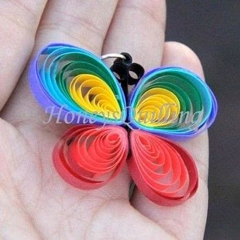 Beautiful fun rainbow butterfly! .  Free tutorial with pictures on how to make a set of paper earrings in under 30 minutes by jewelrymaking, papercrafting, and quilling with quilling tool, paper, and paper. Inspired by butterflies and rainbow. How To posted by HoneysQuilling.  in the Papercraft section Difficulty: 3/5. Cost: Cheap. Steps: 7