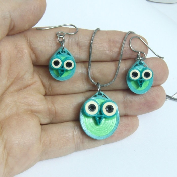 Paper Quilled Owl Pendants 183 How To Make A Paper Bead Necklace 183 Papercraft On Cut Out Keep