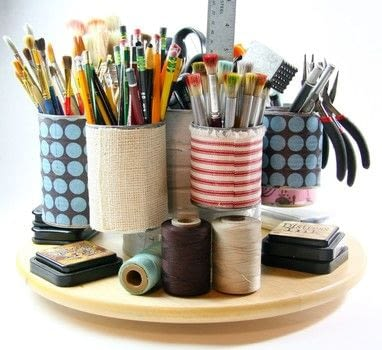 Get your craft supplies organized and readily available! .  Free tutorial with pictures on how to make a pot in under 120 minutes using tin can, coffee tin, and mod podge. How To posted by Cynthia S.  in the Home + DIY section Difficulty: Easy. Cost: Absolutley free. Steps: 9