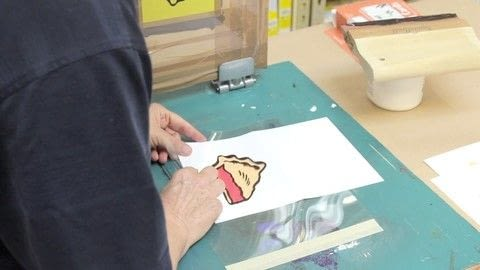 With preparation and quality materials, screen printing can be easy as pie! .  Free tutorial with pictures on how to silk-screen a silk screening project in under 180 minutes by creating, cardmaking, printing, and screen printing with marker, mask-ease, and paper. How To posted by Opus Art Supplies.  in the Art section Difficulty: Simple. Cost: 3/5. Steps: 4