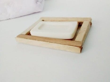 DIY Popsicle Stick Soap Dish .  Free tutorial with pictures on how to make a soap dish in under 60 minutes using scissors, decoupage glue, and tea bags. How To posted by Timia L.  in the Home + DIY section Difficulty: Easy. Cost: Absolutley free. Steps: 6