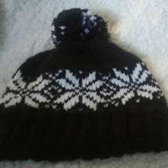 Pom Pom Knit Hat With Custom Labels