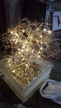 Wire tree .  Make a wire tree using wire, beads, and lights. Inspired by trees. Creation posted by Tristin C.  in the Art section Difficulty: 3/5. Cost: 3/5.