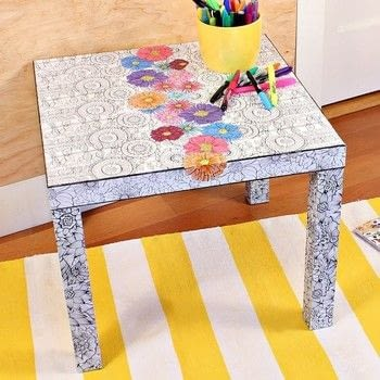 Turn your adult coloring books into an amazing table! .  Free tutorial with pictures on how to make a side table in under 180 minutes by creating, drawing, and decoupaging with table, book, and decoupage. How To posted by Mark Montano.  in the Decorating section Difficulty: Simple. Cost: Cheap. Steps: 3