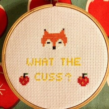 Are you cussing with me? .  Free tutorial with pictures on how to cross stitch  in 2 steps by needleworking and cross stitching with aida, dmc floss, and embroidery needle. Inspired by movies, books, and foxes. How To posted by SSaunders.  in the Needlework section Difficulty: Simple. Cost: Absolutley free.