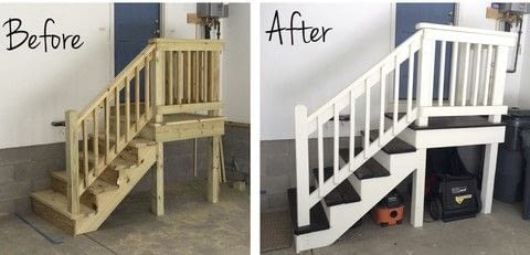 Updating boring garage stairs .  Free tutorial with pictures on how to make furniture in 6 steps by decorating with nail, sand paper, and wood stain. How To posted by Bernice.  in the Home + DIY section Difficulty: 3/5. Cost: Cheap.