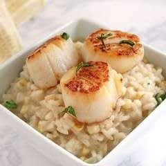 Charred Corn Risotto With Scallops And Butter Fried Basil
