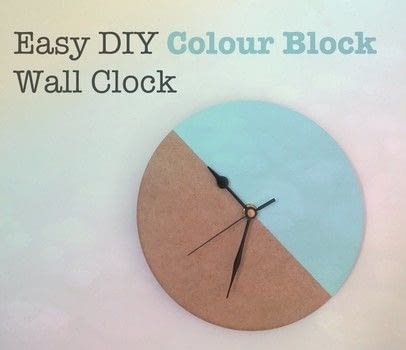 Easy colour block wall clock .  Free tutorial with pictures on how to make a clock in under 10 minutes using clock mechanism, masking tape, and paint. Inspired by vintage & retro and geometric. How To posted by Emma.  in the Home + DIY section Difficulty: Easy. Cost: Cheap. Steps: 4
