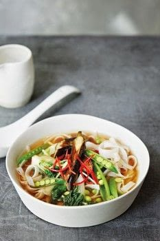Broth .  Free tutorial with pictures on how to cook a noodle soup in under 15 minutes by cooking with pak choi, rice noodles, and groundnut oil. Recipe posted by Creative Publishing international.  in the Recipes section Difficulty: Simple. Cost: Cheap. Steps: 5