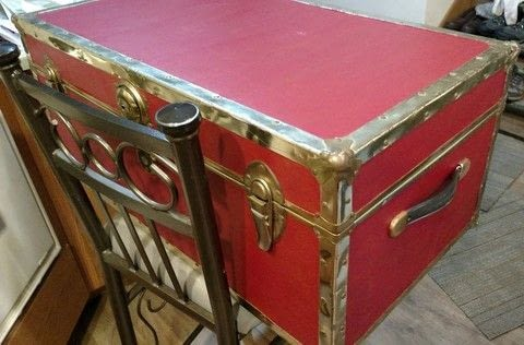 Revamped footlocker with a couple coats of paint .  Make a suitcase table using paints, chest, and casters. Creation posted by Monika Gottindottir.  in the Home + DIY section Difficulty: Simple. Cost: Cheap.