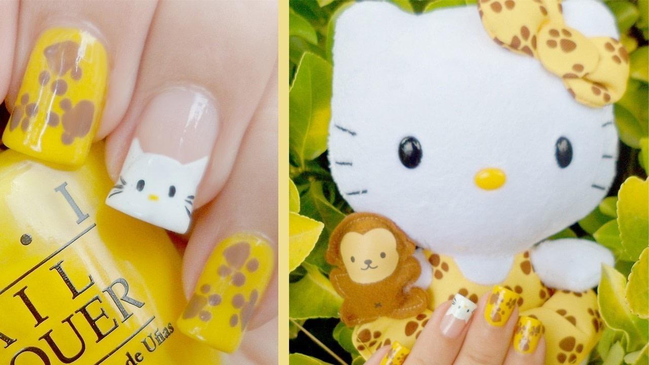 Hello Kitty Safari Plushie Nail Art How To Paint An Animal Nail