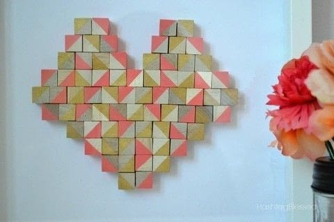 This Geometric Heart will add the perfect pop of color to any room! .  Make a hanging in under 60 minutes by decorating with hot glue, cardstock, and craft paint. Creation posted by Chandra - HashtagBlessed.  in the Art section Difficulty: Simple. Cost: Absolutley free.