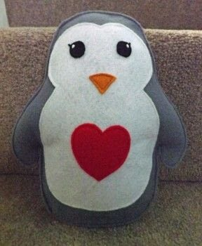 A Valentine Plush .  Make a penguin plushie in under 60 minutes by sewing with felt, embroidery thread, and stuffing. Inspired by valentine's day and penguins. Creation posted by PixieFey.  in the Needlework section Difficulty: Easy. Cost: Absolutley free.