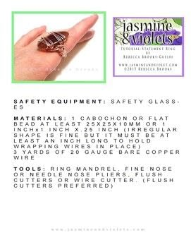 Wire wrapped cabochon ring .  Free tutorial with pictures on how to make a wire wrapped ring in under 60 minutes by jewelrymaking and wireworking with chain nose pliers, cabochon, and mandrel. How To posted by Rebecca B.  in the Jewelry section Difficulty: Simple. Cost: No cost. Steps: 4