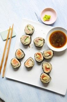 Hungry Happy Healthy .  Free tutorial with pictures on how to roll maki sushi in under 45 minutes by cooking with quinoa, rice vinegar, and soy sauce. Recipe posted by Creative Publishing international.  in the Recipes section Difficulty: Simple. Cost: Cheap. Steps: 5