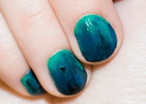 Blue/green/black nails .  Free tutorial with pictures on how to paint a gradient nail in under 15 minutes by nail painting with nail polish, nail polish, and nail polish. Inspired by sealife, blue, and green. How To posted by Patricia V.  in the Beauty section Difficulty: Simple. Cost: Cheap. Steps: 5