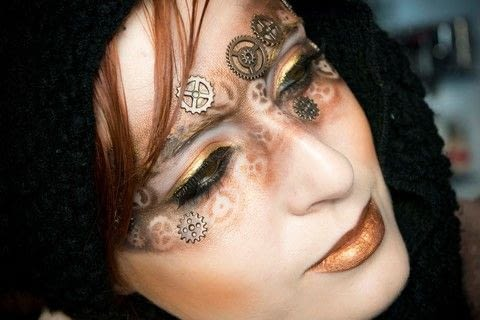 Steam Punk Mask Tutorial .  Free tutorial with pictures on how to create a mask face makeup look in under 25 minutes by applying makeup with metal, eyeshadow, and eyeshadow. Inspired by steampunk and brown. How To posted by Patricia V.  in the Beauty section Difficulty: 3/5. Cost: Cheap. Steps: 9