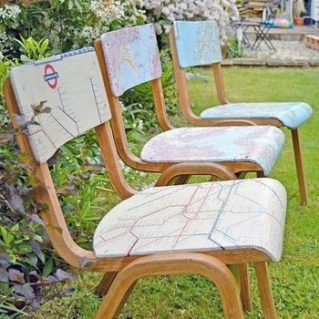 Personalise and upcycle some chairs into a statement piece with maps  .  Free tutorial with pictures on how to make a chair in under 180 minutes using scissors, pva glue, and chair. Inspired by crafts, homeware, and norwegian. How To posted by pillarboxblue.  in the Home + DIY section Difficulty: Simple. Cost: Cheap. Steps: 5