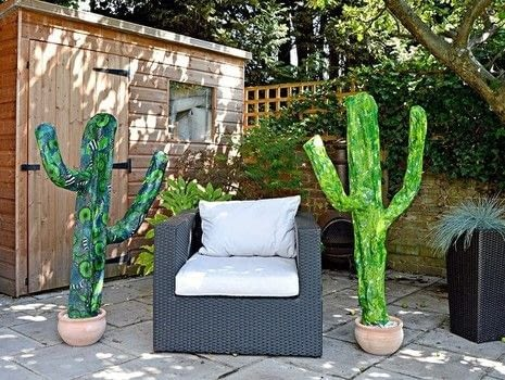 Can't afford a giant cactus then make one. .  Free tutorial with pictures on how to make a papier mache model in under 180 minutes using stick, plaster of paris, and bucket. Inspired by garden and cactus. How To posted by pillarboxblue.  in the Papercraft section Difficulty: Simple. Cost: Cheap. Steps: 6
