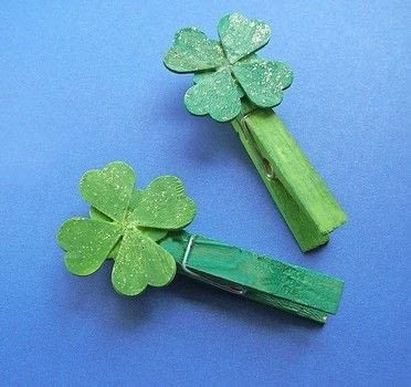 You can make your own luck..or lucky charm this St. Patrick's Day, with these cute four leaf clover clips. .  Free tutorial with pictures on how to make a clips in under 25 minutes by papercrafting with clothespin, white glue, and acrylic paint. Inspired by st patrick's day, kids, and shamrocks. How To posted by Corinne D.  in the Decorating section Difficulty: Easy. Cost: Absolutley free. Steps: 7