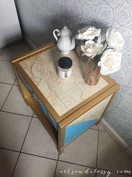 This geometric makeover turned out great! .  Free tutorial with pictures on how to make a side table in 7 steps using ruler, xacto knife, and paintbrushes. How To posted by ArtsandClassy.  in the Home + DIY section Difficulty: 3/5. Cost: 3/5.