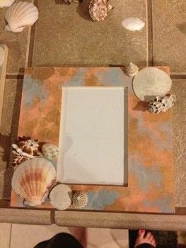 A pretty way to remember the beach .  Make a shell photo frame in under 60 minutes by photographing, embellishing, collage, and decorating with acrylic paint, shell, and photo frame. Creation posted by Breanna S.  in the Art section Difficulty: Simple. Cost: 3/5.