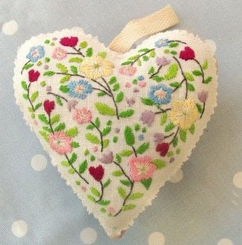 Hearts are always a popular design trend and this embroidered version is especially pretty .  Free tutorial with pictures on how to make a shape plushie in 3 steps by embroidering with stranded cotton, stuffing, and pinking shears. Inspired by hearts. How To posted by Bustle & Sew.  in the Needlework section Difficulty: Simple. Cost: Absolutley free.