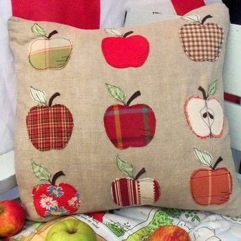 An apple a day keeps the doctor away … apples are good for you as well as fun to stitch! .  Free tutorial with pictures on how to sew an applique cushion in under 120 minutes by sewing with linen, fusible web, and fabric marker. Inspired by apples. How To posted by Bustle & Sew.  in the Sewing section Difficulty: Simple. Cost: Cheap. Steps: 3