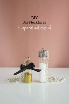 Easy to make jar necklaces + Supernatural inspired one with salt. .  Free tutorial with pictures on how to make a charm necklace in under 30 minutes using jump rings, salt, and glitter. Inspired by supernatural. How To posted by CurlyMade.  in the Jewelry section Difficulty: Easy. Cost: Cheap. Steps: 1