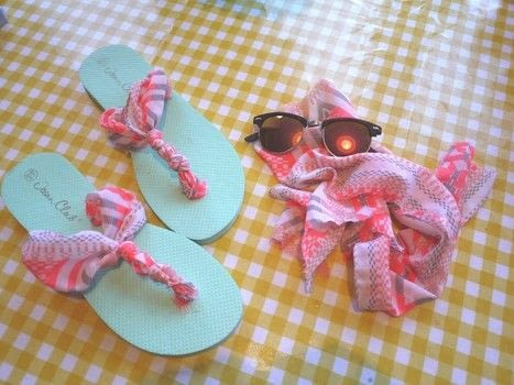 A cheap and easy way to add some glamour to your flip flops! .  Free tutorial with pictures on how to make a sandal / flip flop in under 60 minutes by not sewing with fabric, scissors, and measuring tape. Inspired by summer holidays, clothes & accessories, and shoes. How To posted by Knits & Brew.  in the Other section Difficulty: Easy. Cost: Absolutley free. Steps: 12