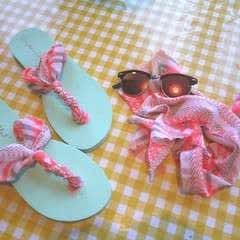Repurposed Scarf Flip Flops