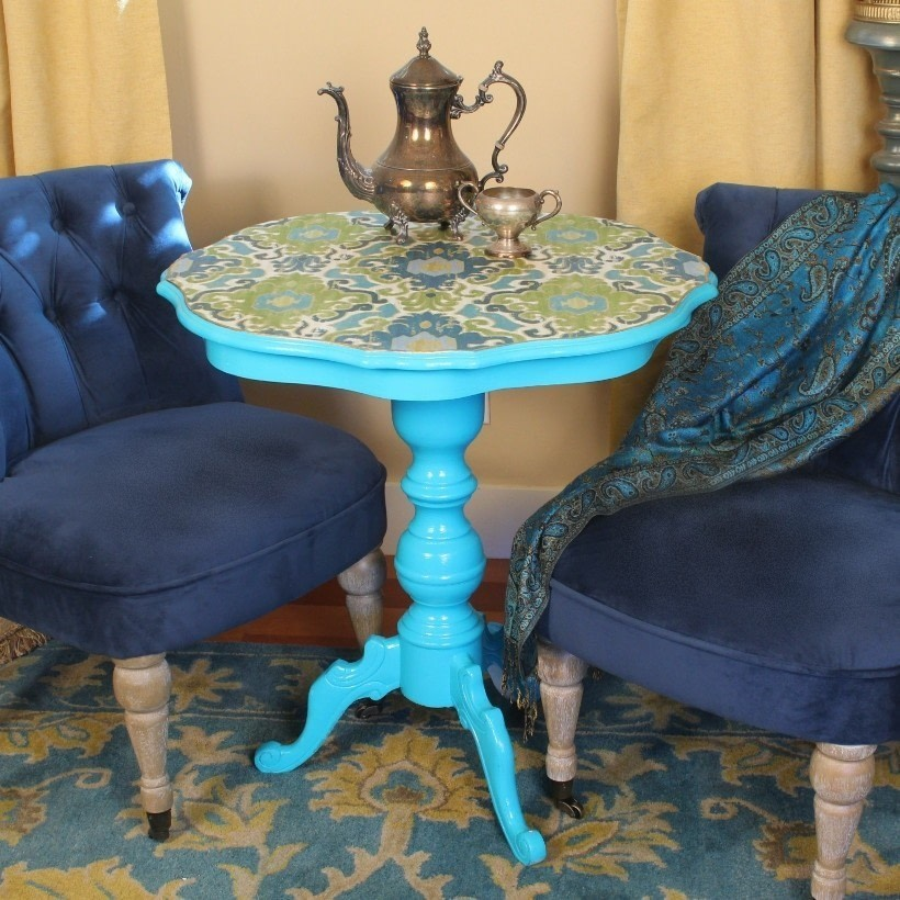 Free Makeover A Thrift Table With Little Fabric It S Easy