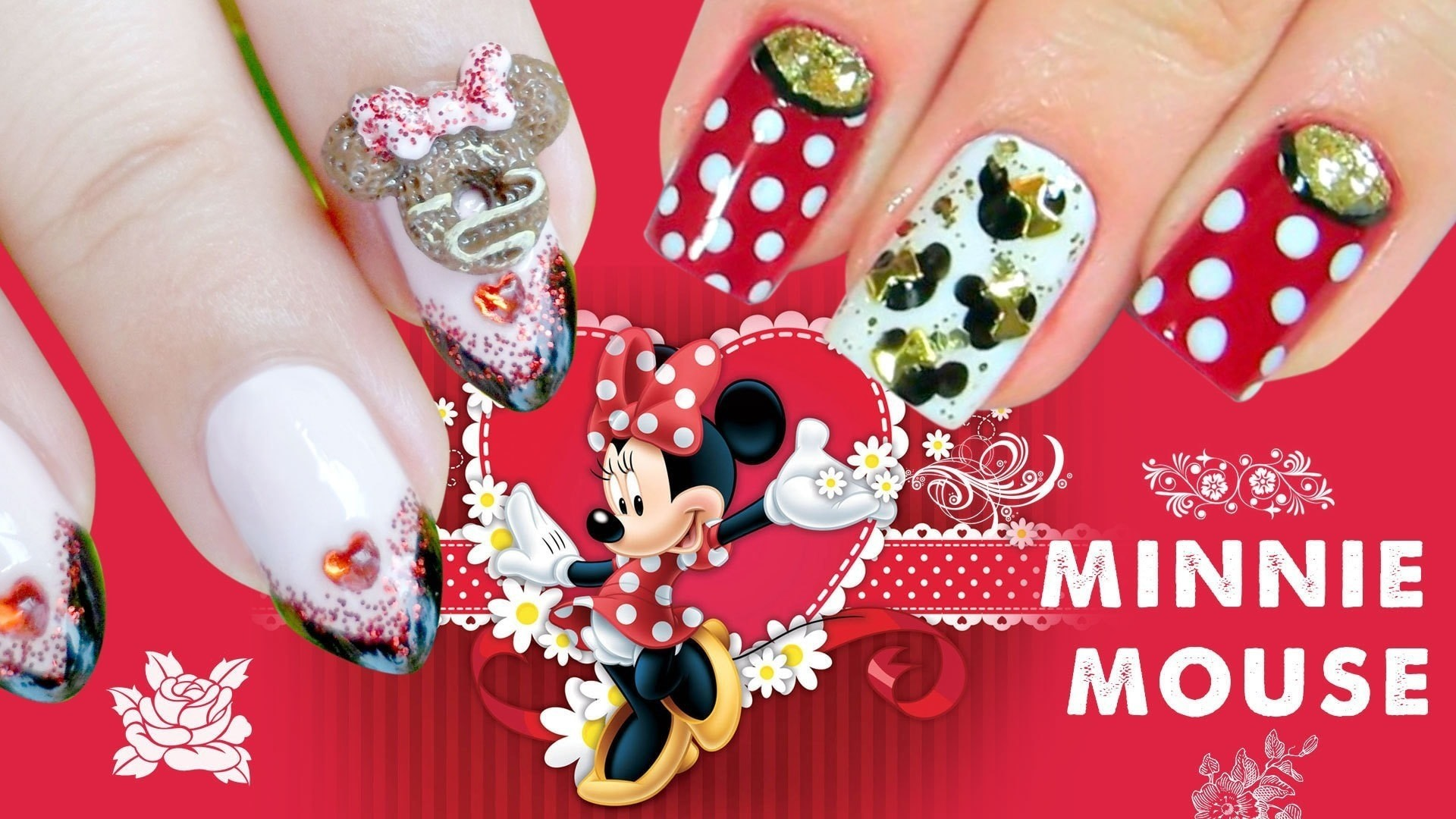 Disney Minnie Mouse Nail Art How To Paint A Glitter Nail Beauty